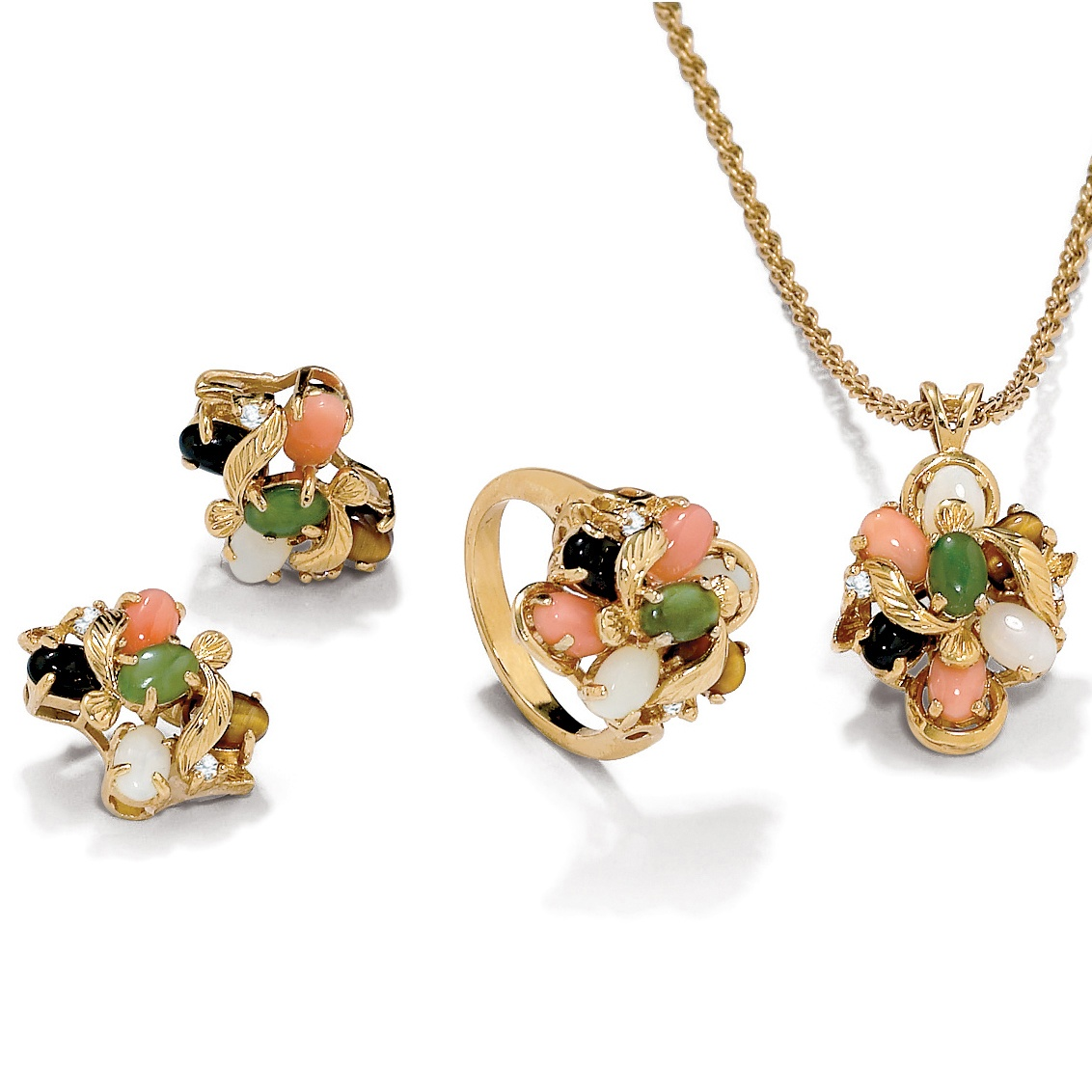 Genuine Coral, Opal, Jade, Onyx, Tiger's-Eye 14k Gold-Plated Necklace, Earrings and Ring Set