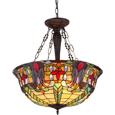 (Chloe Lighting Riley Tiffany-Style 3-Light Victorian Inverted Ceiling Pendant Fixture with 22