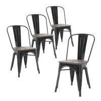 Buschman Metal Dining Chairs, Indoor/Outdoor and Stackable, Set of 4 (Black with Wooden Seat)