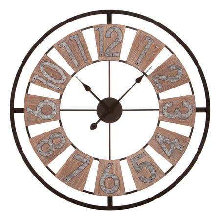 30 Inch Wood and Galvanized Metal Windmill Cut Out Wall Clock ()