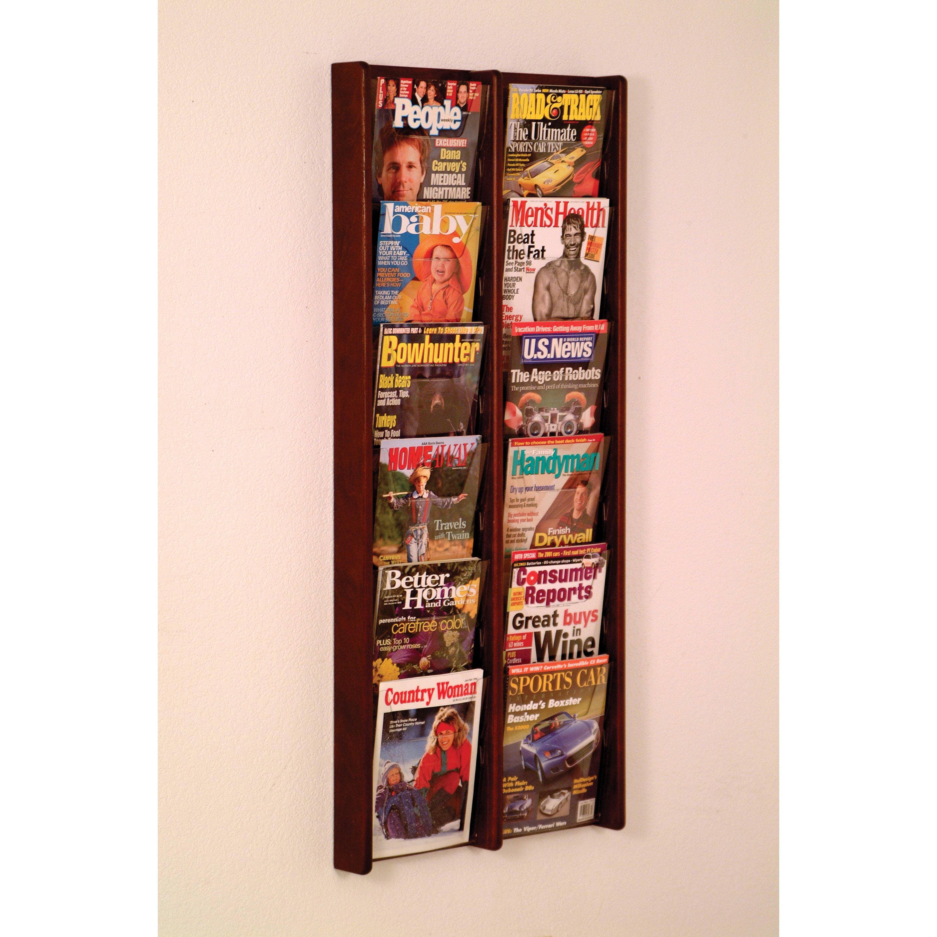 12-Pocket Vertical Solid Wood Magazine Rack by Wooden Mallet