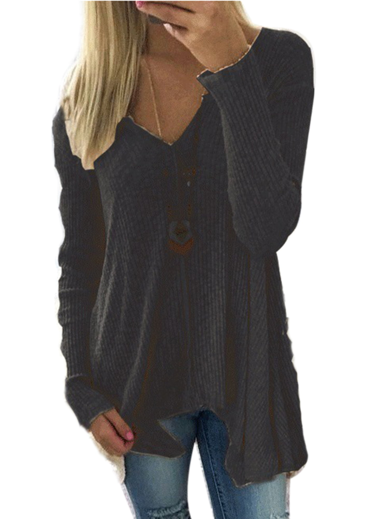 Womens Long Sleeve V Neck Loose Knitted Sweater Ladies Casual Jumper Blouse Tops