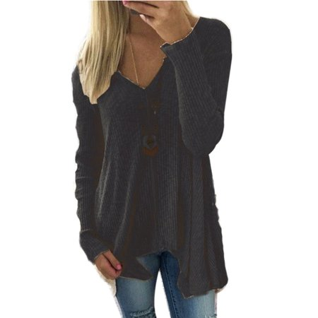 Sexy Dance - Knitted Pullover Sweaters Women Winter V Neck Long Sleeve  Blouse Jumper Irregular Tops Casual Loose Basic Shirts Plus - Walmart.com 756208c13