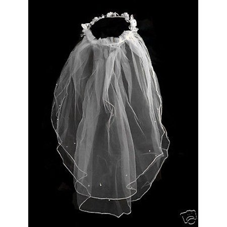 Girls 1st Communion Wedding White Veil 2 Layers Tulle Headpiece with Pearl 22