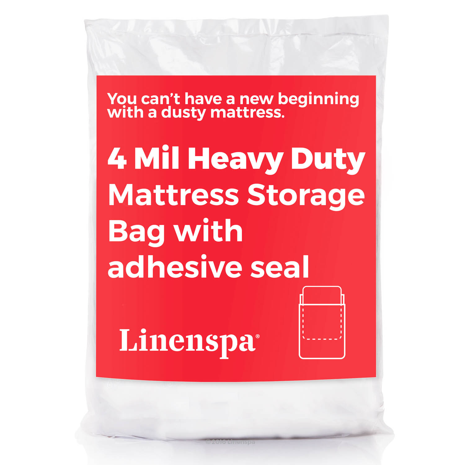 Linenspa 4 mil Heavy Duty Mattress Moving and Storage Bag with Adhesive Closure - Queen