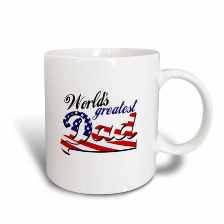 3dRose Worlds greatest dad with USA American flag - good for fathers day or as a general best daddy gift, Ceramic Mug, 15-ounce
