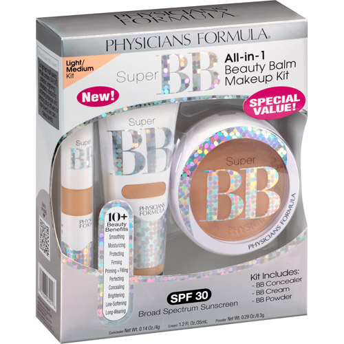 Physicians Formula Super BB All-in-1 Beauty Balm Makeup Kit, 6201 Light/Medium, 3 pc