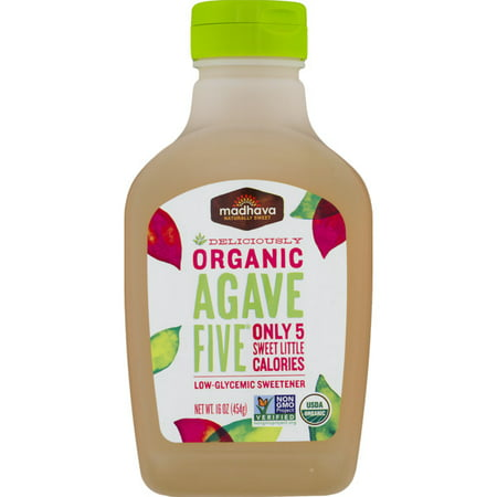 (2 Pack) Madhava Organic Agave Five Low-Glycemic Sweetener, 16.0 OZ Certified Organic Agave Nectar
