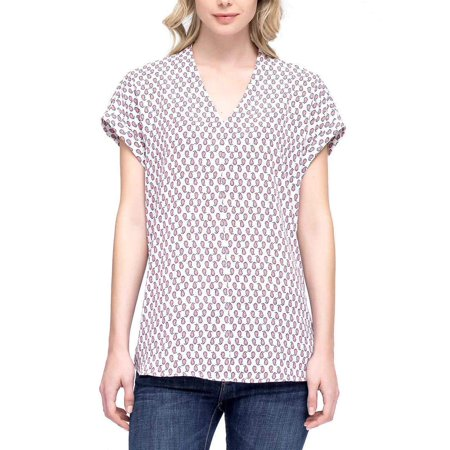 Pleione Womens Printed Cap Sleeve V-Neck Top (Dotted Balloon, - Cmp Sleeve