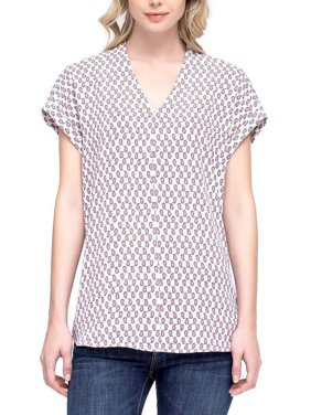 0d61d62153fa61 Product Image Pleione Womens Printed Cap Sleeve V-Neck Top (Dotted Balloon