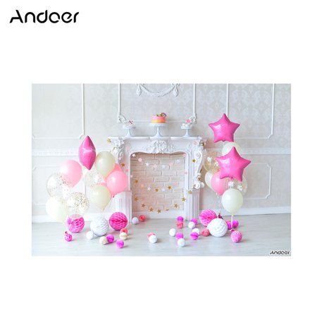 Andoer 1.5 * 2.1m/5 * 7ft Birthday Party Photography Background Pink Balloon Star Paper Poms Fireplace Cake Backdrop Photo Studio Pros - Paper Photo Backdrops
