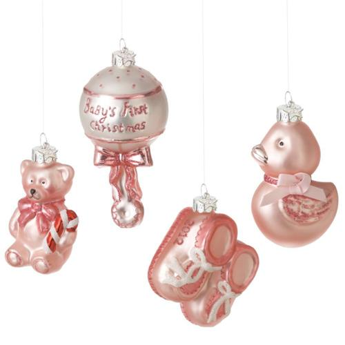 Midwest CBK Baby Girl Gift Boxed 2012 Glass Christmas Ornaments, Set of 4