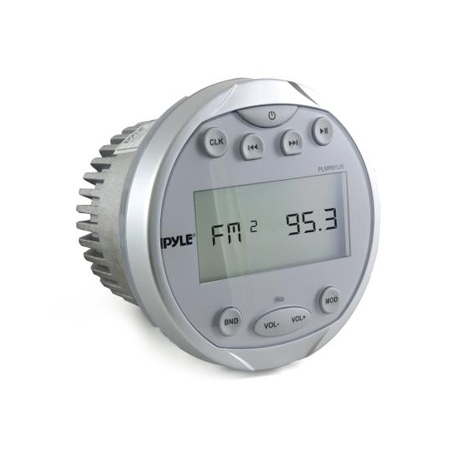 Waterproof BT Marine Media Receiver Stereo Radio (USB MP3 & AUX Inputs) AM FM Radio, Round Circle, Silver by Pyle