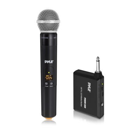 PYLE PDWM13UH - UHF Wireless Microphone System - Handheld Mic & Wireless Transmitter with Universal Plug-and-Play Audio