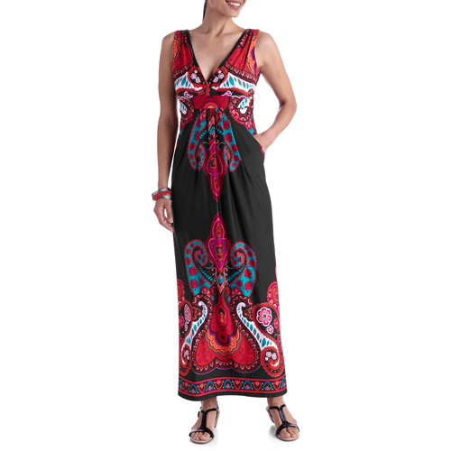 Stitch V-Neck Printed Maxi Dress
