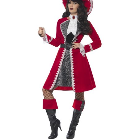 Adult's Womens High Seas Scarlet Red Pirate Captain Costume - Scarlet Costume