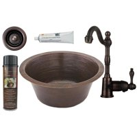 BSP4-BR16DB3-D Round Hammered Copper Bar Prep Sink, Single Handle Bar Faucet, 16 in. With 3.5 in. Strainer Drain