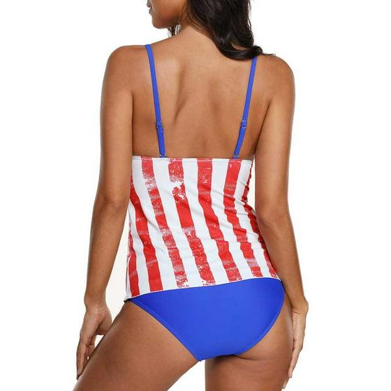 d9833069e9c Mosunx Women American USA Flag Print Beach Strappy Surfing Bathing Suit  Swimwear 2XL - Walmart.com