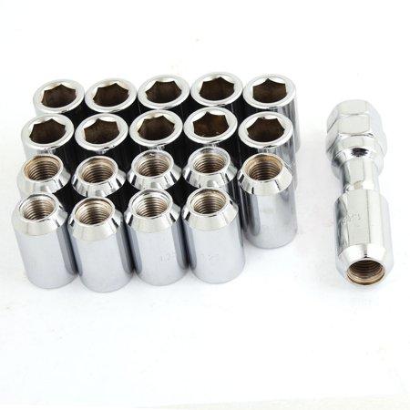 Auto Wheel M12x1.25 Silver Tone Metal Hex Locking Lug Nuts 20 Pcs