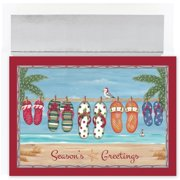 Seasons Greetings Holiday Flip Flops on the Beach 18 Boxed Christmas Cards