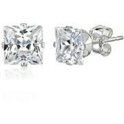 Princess-Cut CZ Sterling Silver Stud Earrings, 5mm
