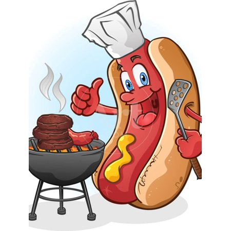 Hot Dog Chef Cartoon Grilling Burgers Print Wall Art By Tony - Cartoon Dogs Print