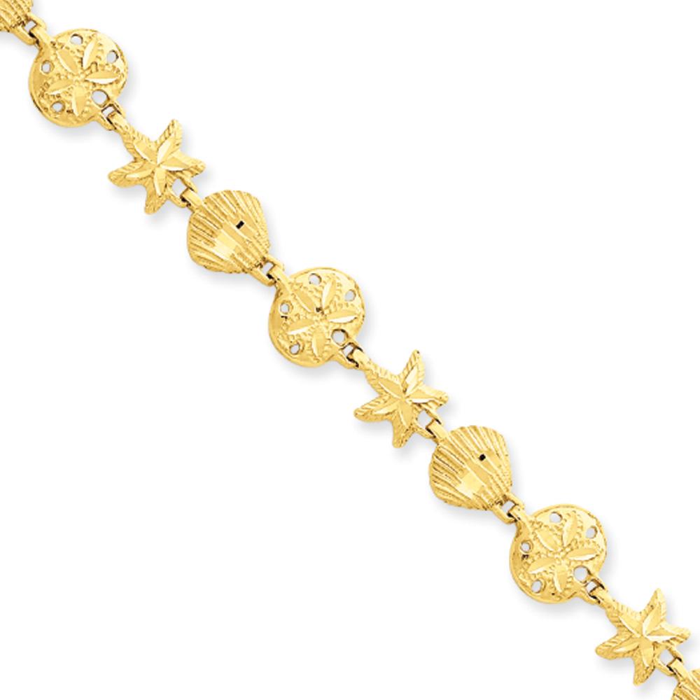 14k Yellow Gold Starfish, Shell, Sand Dollar Beach Bracelet 7 Inch by Black Bow Jewelry Company