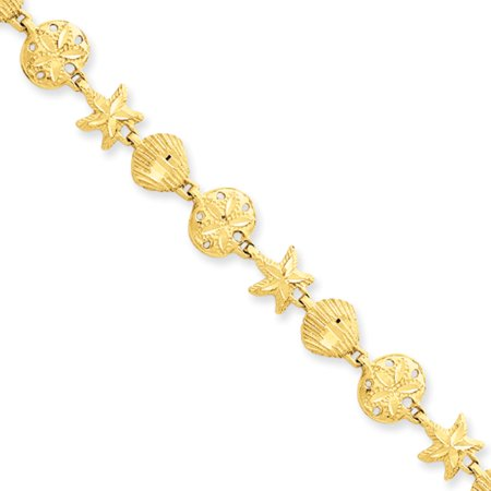 14k Yellow Gold Starfish, Shell, Sand Dollar Beach Bracelet - 7 Inch