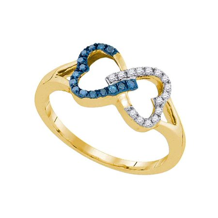 10kt Yellow Gold Womens Round Blue Color Enhanced Diamond Heart Love Ring 1/6 Cttw