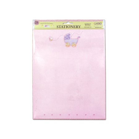 Bulk Buys Pink Baby Stationery With Baby Carriage  Pack Of 25 Sheets  Case Of 24