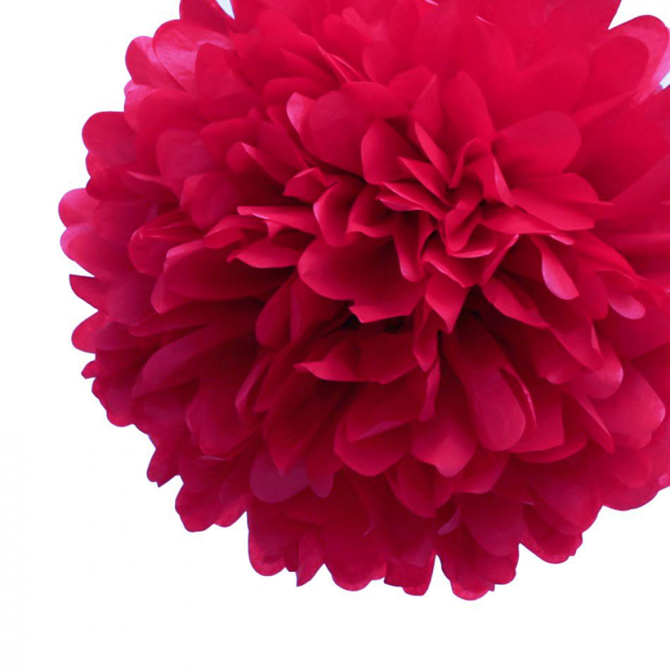 Quasimoon EZ-FLUFF 8'' Red Tissue Paper Pom Pom Flowers, Hanging Decorations (4 Pack) (Pre-Folded) by PaperLanternStore