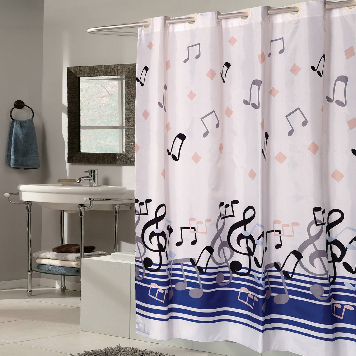 """Home Bath Decor Music Notes Waterproof Polyester Fabric Shower Curtain 59/"""" x 71/"""""""