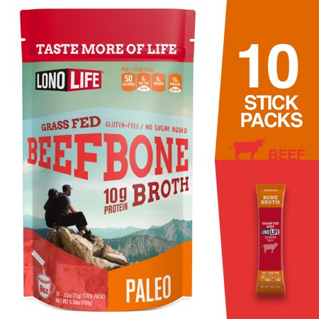 LonoLife Grass-Fed Beef Bone Broth Powder with 10g Protein, Paleo and Keto Friendly, Stick Packs, 10