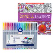 Maven Gifts: Stress-Relief Coloring Bundle – Studio Series Doodle Designs 31-Page Adult Coloring Book with Staedtler Triplus Fineliner 0.3mm Pens – 20 Brilliant Colors with Sturdy Easel Case