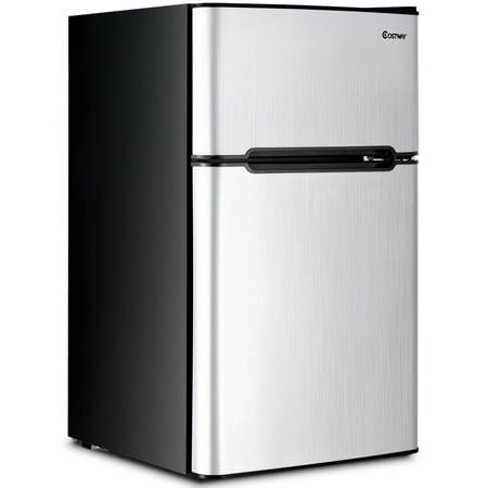 Costway Stainless Steel Refrigerator Small Freezer Cooler Fridge Compact 3.2 cu ft. Unit Small Refrigerator Dish