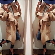 New Womens Ladies Woolen Long coat Jacket Trench Parka Windbreaker Outwear