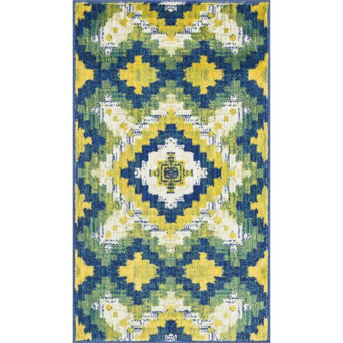Ebern Designs Nanava Green/Yellow Area Rug