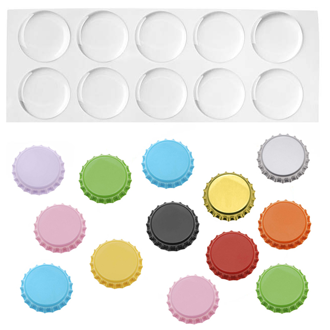 "50 Mixed Color Crown Bottle Caps and 1"" Epoxy Stickers For Crafts And Scrapbooking"
