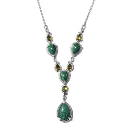 Women's Girls Malachite Cubic Zirconia CZ Drop Chain Statement Necklace -