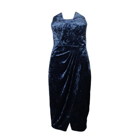 Sheath Strapless Court Train - JAX Women's Strapless Crushed Velvet Sheath Dress