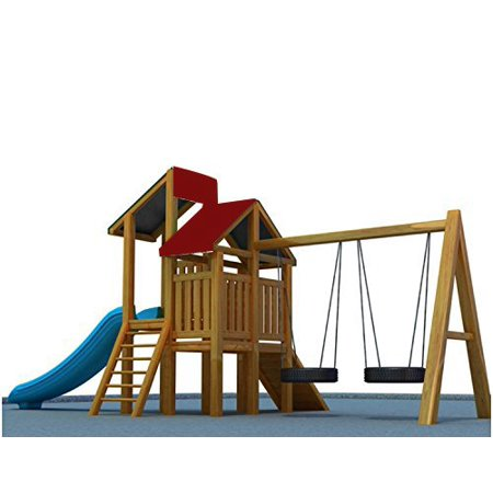 "Shatex 43""x90"" Waterproof Canopy Kits for Backyard Wood Playset Swing Set WIine Red"