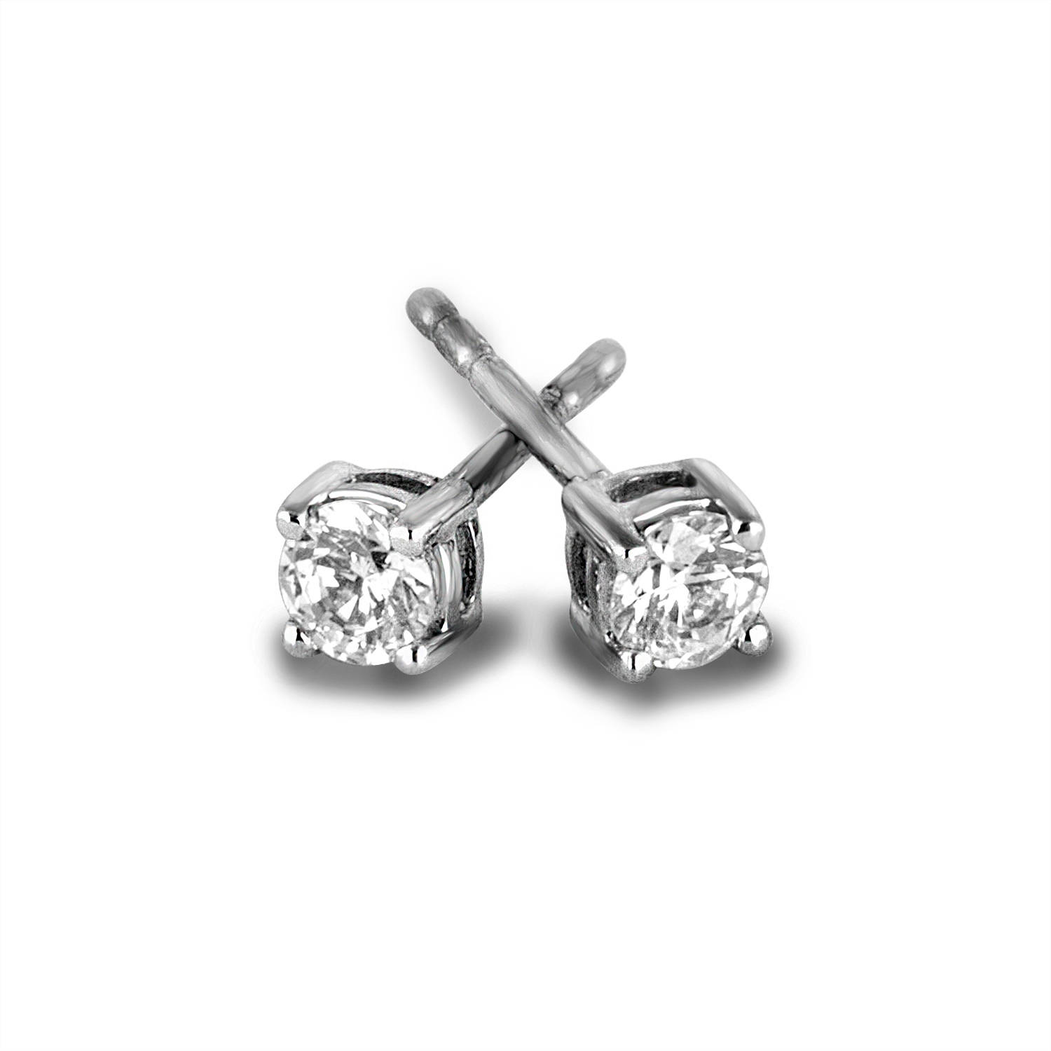 3 8 Carat T W Round Diamond Sterling Silver Stud Earrings