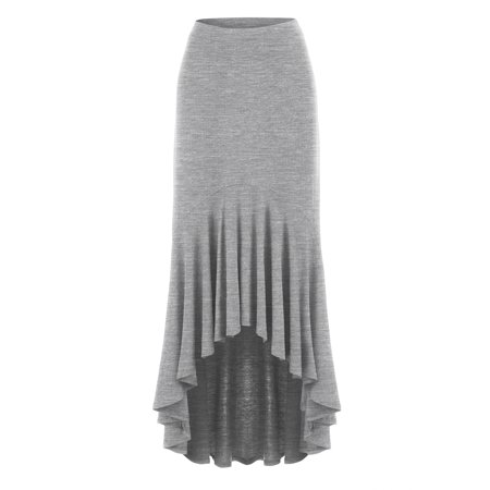 Made By Johnny MBJ WB1132 Womens Asymmetrical High Low Ruffle Hem Skirt XXXL Heather_Grey
