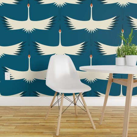Peel and Stick Removable Wallpaper Cranes Modern Bird Whooping Crane F
