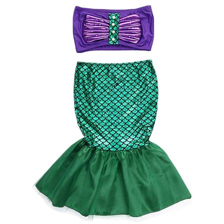 Infant Baby Girls Mermaid Tail Dress Top Swimwear Clothes Costume Set (Mermaid Infant)