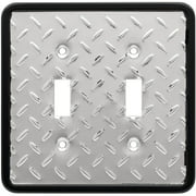 Franklin Brass Diamond Plate Double Switch Wall Plate in Polished Chrome