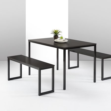 Zinus Louis Modern Studio Collection Soho Dining Table with Two Dining Benches, Multiple Colors Soho Dining Table Set