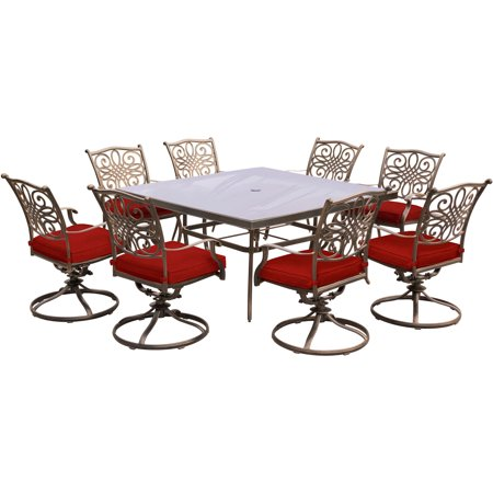 Image of Hanover Traditions 9-Piece Outdoor Dining Set with Square Glass-Top Table and 8 Swivel Rockers