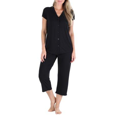 PajamaMania Women's Stretchy Knit Button Up Top and Capri Pajama Set Top Cotton Knit Loungewear