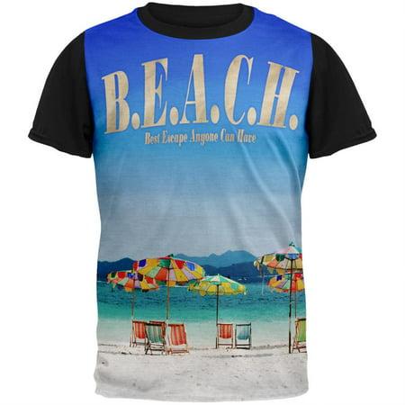 BEACH Best Escape Ever Adult Black Back T-Shirt
